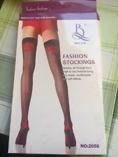 Beileisi Leg Avenue Sheer Black Stockings Red Seam Cuban Heel & Printed Red Bow