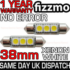 2x 38mm 3 SMD LED 239 272 C5W CANBUS NO ERRORE BIANCO LUCE INTERNO Festoon BULB