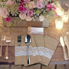Set Of 50 Burlap Lace Cutlery Holder Pouch Bag For Wedding Home Flatware Storage