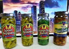 VIENNA BEEF Chicago Hot Dog Condiment Kit, 2 Sports Peppers, Relish, Giardiniera