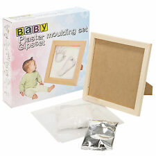 Baby Hand Foot Print Plaster Moulding Set With Wooden Frame Gift Casting Kit
