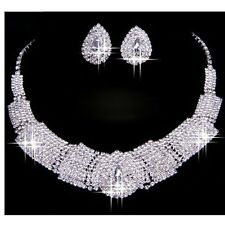 UK WEDDING SILVER DIAMANTE CRYSTAL NECKLACE EARRINGS SET NW JEWELRY PROM
