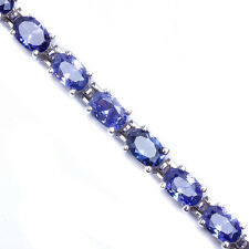 10 CARAT BEST SELLER! OVAL CUT TANZANITE .925 Sterling Silver Bracelet 7""