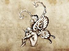 ART PRINT POSTER PAINTING DRAWING TATTOO SKETCH BUTTERFLY FAIRY GRUNGE LFMP0673