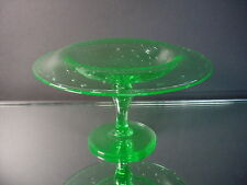 Scarce H. C. Fry Glass Unusual Shape Pomona Green Controlled Bubble Compote 1925