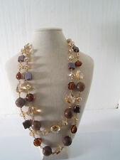 collana doppio filo con agate, cristalli , vetro soffiato e ceramica