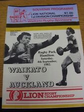 04/09/1982 Rugby Union Programme: Waikato v Auckland. Thanks for viewing our ite