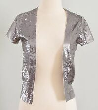 J Crew $450 Stardust Sequin Cardigan Extra Small Light Pewter XS