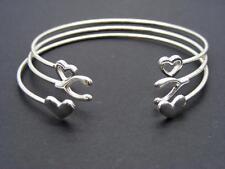$12 Orion Dainty 3 Piece Open Cuff  Bracelet Set Heart Wishbone Silvertone Metal