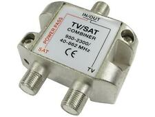 TV/Satellite Combiner - F Connector F Conn + Coax Combiner