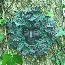 Bronzo REGINA Green Man Giardino Regalo targa sul muro Outdoor Ornamento Decorazione 09056