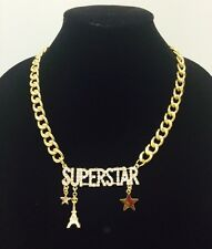 Fashion Gold METAL Hip Hop SUPERSTAR Rhinestone Chunky Chain Necklace