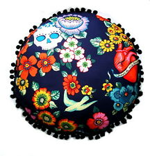 "NEW  BLUE FRIDA KAHLO POMPOMS ROUND CUSHION 15"" X 15"""