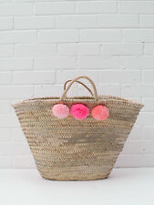 Large Pink Ombre Pom Pom French Market Beach Basket, Tote Shopper Bag Moroccan