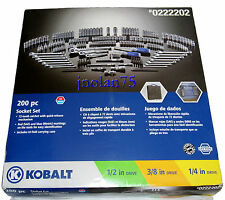 200 Pc KOBALT 1/2 3/8 1/4 Ratchet Socket Mechanics Tool Set SAE & Metric +