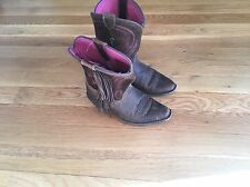 Girls Ariat Brown/Pink Fancy Fringe Cowboy Boots - Size 11.5
