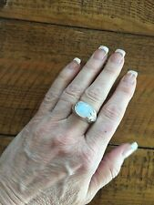 Vintage Sterling Silver Oval Cabochon Moonstone Ring Sz 7