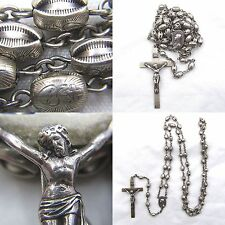 """HEAVY VINTAGE STERLING SILVER ETCHED SACRED HEART EYE ROSARY NECKLACE 26"""" 36+ GM"""