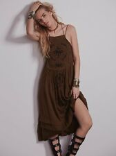Free People Green Diamonds In The Sky Embroidered Boho Festival Dress XS Rare