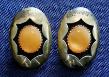 NATIVE AMERICAN P, STERLING SILVER, YELLOW CABS, LADY'S VINTAGE EARRINGS