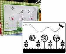 CRAFTS TOO embossing folders SPRING GARDEN - dragonfly flowers CTFD4023