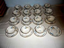 Vtg Haviland Limoges Montmery Forget Me Nots Gold Trim Cups & Saucers (15 Sets)