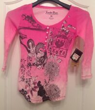 LUCKY TEES 100% Cotton Pink 3/4 Sleeve Top Size XS