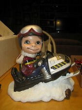 Vintage Hand Painted 70s/80's Smiley Boy on Ski Doo Snowmobile Ceramic FIGURINE