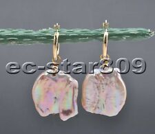 P6291 Big 22MM Square Coin Lavender Keshi Pearl Dangle Earring