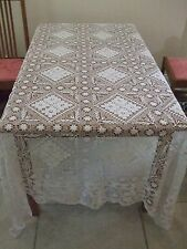 "Beautiful Antique Lace Single Bed Cover or Large Cloth - 67"" x 95"""