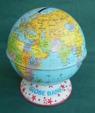 VINTAGE J CHEIN TIN LITHO WORLD GLOBE BANK RED STAR BASE TOY MONEY COIN PENNY