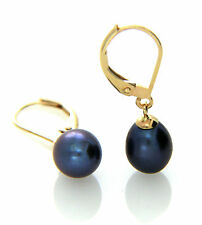 Hallmarked 9ct Gold Cultured Black Freshwater Pearl 7-8mm Leverback Earrings