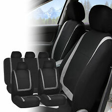 Full Car Seat Covers Set Gray Black For Auto Truck SUV