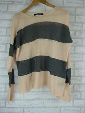 SPORTSGIRL Knit Top Jumper Sz M, L  Pink, Gray Stripe Linen, Cotton Mix