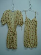 USA Made Nancy King Lingerie Chemise & Makeup Jacket Size 3X Yellow Multi #212C
