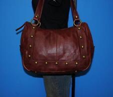 INDIGO BY CLARKS Large Burgundy Leather Studded Shoulder Shopper Tote Purse Bag