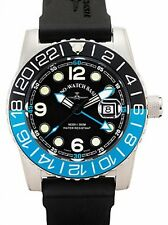 Zeno-Watch Herrenuhr - Airplane Diver Quartz GMT Points (Dual Time), black/blue