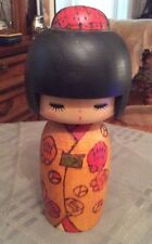 "Japanese Creative KOKESHI Wooden Doll Girl 7""H. Doshin Authentic Made in Japan"