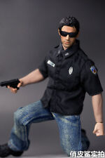 "1/6 Black Police T-shirt Uniform Pants Clothing Suit For 12"" Male Figure Body"