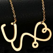 New Medical Doctor Nurse ER Stethoscope Heart Gold Pendant Chain Necklace