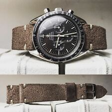 20 mm Brown Suede Leather Strap for vintage speedmaster carrera triple date gmt