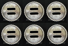 """Set of 6 WESTERN HORSE TACK ANTIQUE ROUND ROPE EDGE SLOTTED CONCHOS 1-1/2"""""""