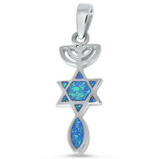 Blue Opal Star of David Charm .925 Sterling Silver Pendant