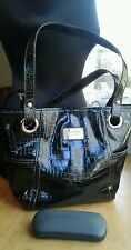 Relic Purse Shoulder Bag Tote Faux Black Patent Embossed Leather EUC