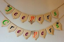 Halloween Jeepers Creepers Bunting Banner Hessian Burlap