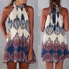 Ladies Sexy Fashion Boho Women Halter Floral Sleeveless Summer Shorts Mini Dress