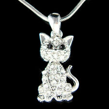 w Swarovski Crystal ~Kitty Cat Kitten movable Charm Pendant Necklace Jewelry New