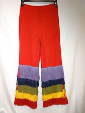 VTG 70s Big E Red Levis Bell Bottom Rainbow Pride Fringe OOAK 28x30 Hippy Unique