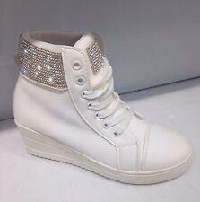 Damas Para mujeres Cuero Estilo Blanco Diamante Tacón Con Plataforma Zapatillas Botas Uk Size 5