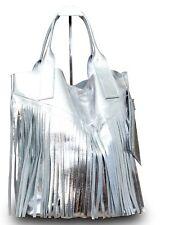 Made in Italy Fransentasche Beuteltasche Shopper Schultertasche Lackleder Silber